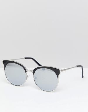 Quay Australia Солнцезащитные очки в круглой оправе. Цвет: серебряный