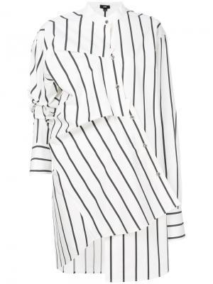 Асимметричное платье-рубашка Ji Oh. Цвет: белый