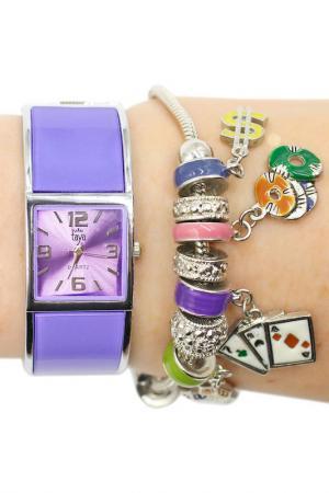 Набор: часы, браслет Taya. Цвет: серебристый, лавандовы