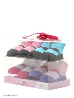 Носочки, 4 пары Luvable Friends. Цвет: розовый, белый, голубой