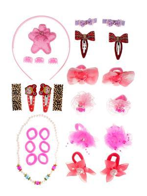 Комплект детский (13 резинок, 10 заколок, 3 краба, колье, ободок) Happy Charms Family. Цвет: бордовый, бежевый, красный, розовый, белый
