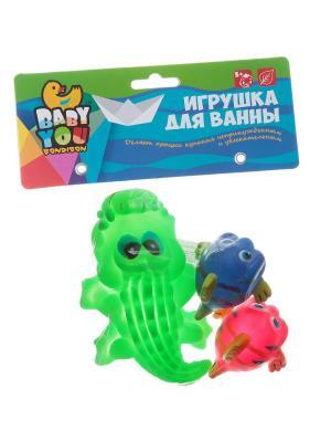 Игр. наб. для купания, Bondibon, крокодил, рыбки, 3 шт., pvc, арт. EL1209 BONDIBON. Цвет: зеленый, оранжевый, розовый, желтый, синий