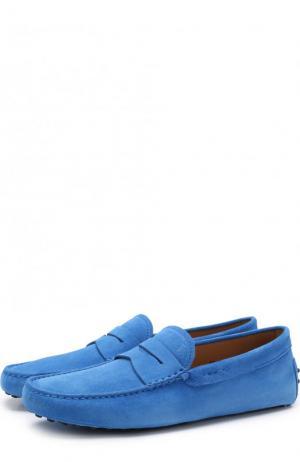 Замшевые мокасины с перемычкой Tod's. Цвет: синий