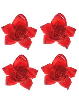Бантики для волос на длинных резинках крупная розочка в стразиках, набор 2 по шт, красные Радужки. Цвет: красный