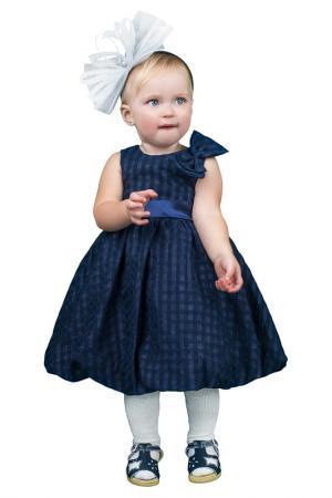 Легкое платье с атласным поясом BOOM. Цвет: темно-синий
