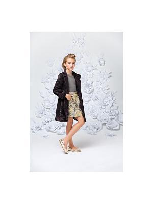 Пальто коричневое с бархатными цветами Gioia di Mamma. Цвет: коричневый