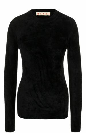 Приталенный пуловер с круглым вырезом и длинным рукавом Marni. Цвет: черный