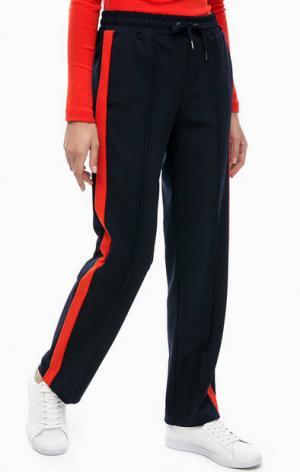 Синие брюки с застроченными стрелками s.Oliver. Цвет: синий