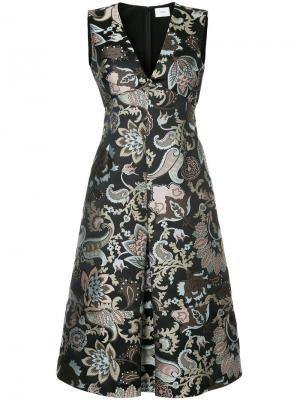 Парчовое платье с V-образным вырезом Erdem. Цвет: чёрный