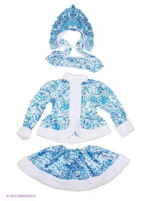 Карнавальный костюм Снегурочка Гжель Батик. Цвет: голубой, белый, серо-голубой