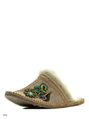 Тапочки Кукморский валяльно-войлочный комбинат. Цвет: серый, зеленый