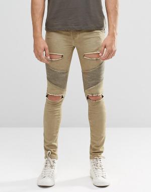 SikSilk Байкерские джинсы скинни с рваной отделкой. Цвет: stone