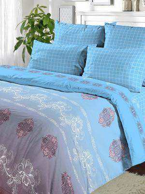Комплект постельного белья из поплина Семейный Василиса. Цвет: голубой
