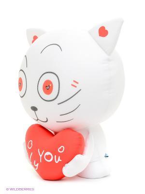 Игрушка-антистресс Влюбленный котик MAXITOYS. Цвет: белый