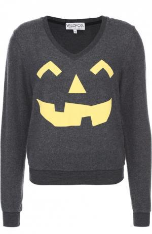 Пуловер с контрастным принтом и V-образным вырезом Wildfox. Цвет: черный