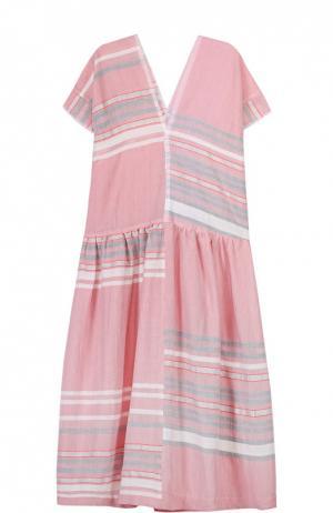 Хлопковое платье свободного кроя в полоску LemLem. Цвет: розовый
