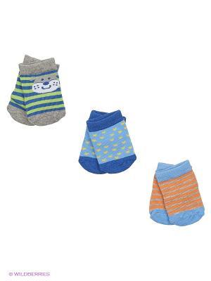 Носки, 3 пары Luvable Friends. Цвет: серый, синий