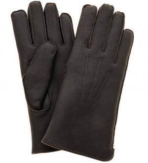 Коричневые перчатки из нубука с меховой подкладкой Bartoc. Цвет: коричневый
