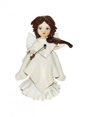 Статуэтка Ангел со скрипкой Zampiva. Цвет: белый, коричневый