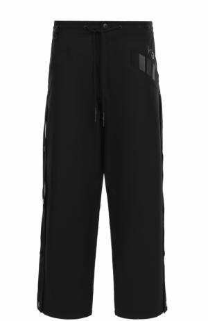 Хлопковые брюки свободного кроя с поясом на кулиске Y-3. Цвет: черный