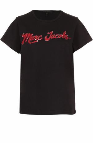 Хлопковая футболка с принтом Marc Jacobs. Цвет: черный