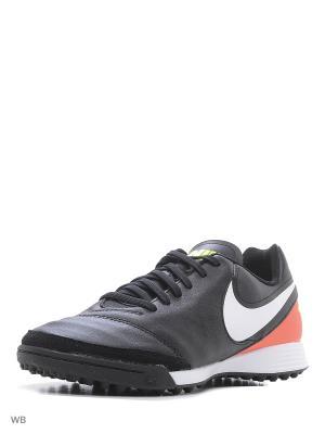 Шиповки TIEMPO GENIO II LEATHER TF Nike. Цвет: черный, светло-оранжевый