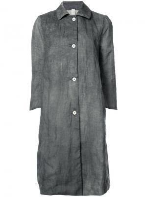 Длинное пальто на пуговицах A Diciannoveventitre. Цвет: серый