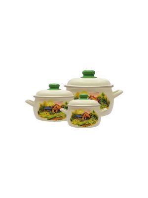 Набор посуды 6 предметов (2,2л, 4,0л, 5,3л) мет.крышки METROT. Цвет: бежевый