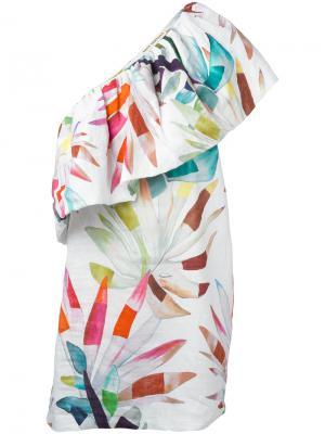 Мини-платье на одно плечо Mara Hoffman. Цвет: многоцветный