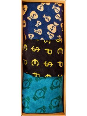 Набор Большой куш (3 пары в коробке), дизайнерские носки SOXshop. Цвет: черный, синий