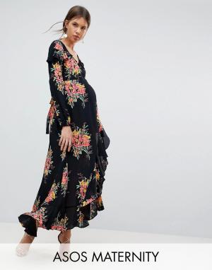 ASOS Maternity Платье макси с цветочным принтом и длинными рукавами. Цвет: мульти