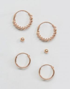 Kingsley Ryan Набор сережек с покрытием из розового золота. Цвет: золотой