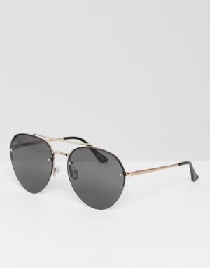 Quay Australia Серебристые солнцезащитные очки-авиаторы. Цвет: серебряный