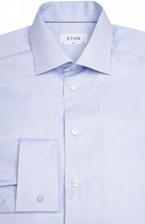 Приталенная сорочка с манжетами под запонки Eton. Цвет: голубой