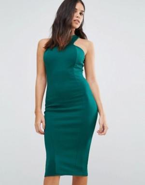 Club L Платье миди из крепа. Цвет: зеленый