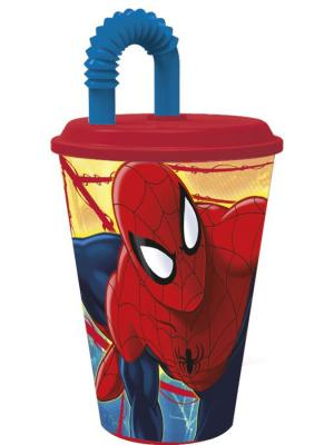 Стакан пластиковый с соломинкой и крышкой (спортивный, 430 мл). Человек-паук Красная паутина Stor. Цвет: желтый, красный, синий