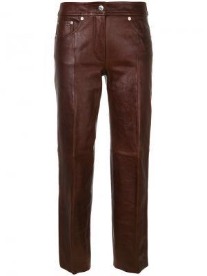 Брюки из искусственной кожи Helmut Lang. Цвет: коричневый