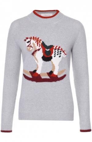 Пуловер прямого кроя с контрастными принтом и отделкой Tak.Ori. Цвет: серый