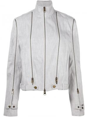 Джинсовая куртка с отделкой молниями JW Anderson. Цвет: белый