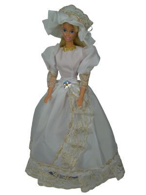 Бальное платье  из шелка со шляпкой для куклы 29 см Модница.. Цвет: белый