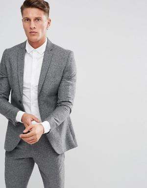 Jack & Jones Зауженный твидовый пиджак Premium. Цвет: серый