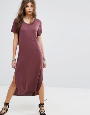 Lira Пляжное платье-футболка макси. Цвет: красный