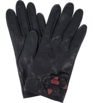 Синие перчатки из натуральной кожи ELEGANZZA. Цвет: синий