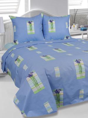 Комплект постельного белья Ирисы Тет-а-Тет. Цвет: синий, зеленый