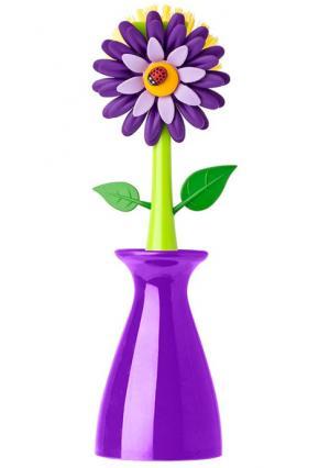 Щетка для мытья посуды на подставке FLOWER POWER* VIGAR. Цвет: фиолетовый (фиолетовый, зеленый)