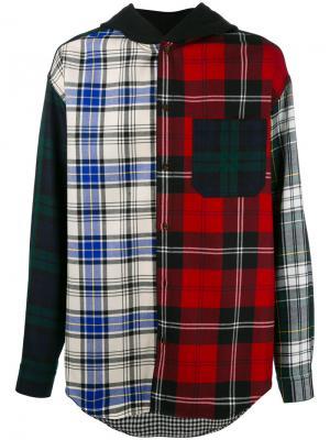 Рубашка в клетку с капюшоном Alexander Wang. Цвет: многоцветный
