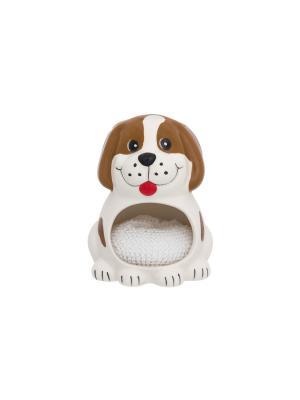 Подставка для губки Собака белая с коричневым Elan Gallery. Цвет: белый, коричневый