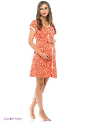 Халат женский для беременных и кормящих Hunny Mammy. Цвет: молочный, оранжевый