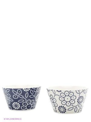 Набор салатников  Цветочный узор бело-синий Elan Gallery. Цвет: синий, белый