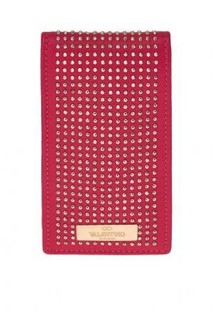 Розовый кожаный чехол для телефона Valentino. Цвет: розовый